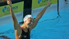 Apesar de bater novo recorde sul-americano, marca ficou acima do índice para o Mundial de Esportes Aquáticos em Kazan, na Rússia